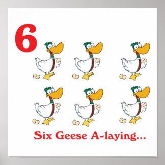 12 días seis uno-colocaciones de los gansos poster