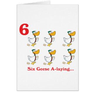 12 días seis uno-colocaciones de los gansos tarjeta de felicitación