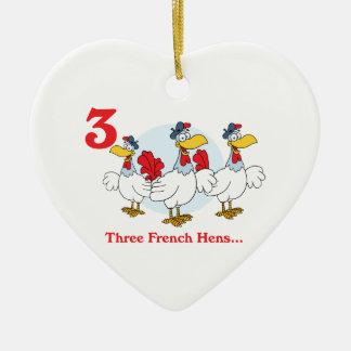12 días tres gallinas francesas adorno navideño de cerámica en forma de corazón