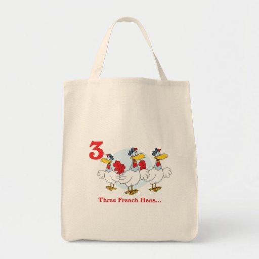 12 días tres gallinas francesas bolsa tela para la compra