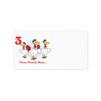 12 días tres gallinas francesas etiquetas de dirección