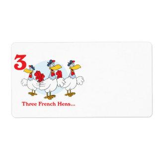 12 días tres gallinas francesas etiqueta de envío