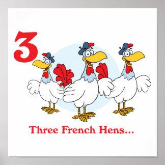 12 días tres gallinas francesas impresiones