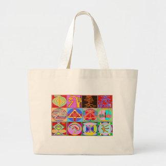 12 diseños de la cura de Reiki n Karuna Reiki Bolsa Tela Grande