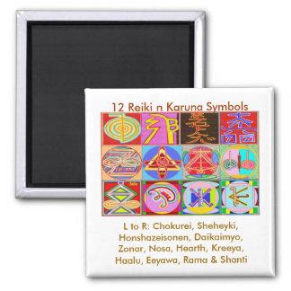 12 diseños de la cura de Reiki n Karuna Reiki Imán Cuadrado