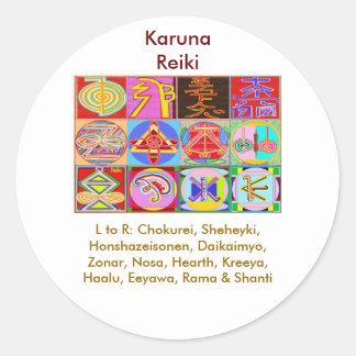 12 diseños de la cura de Reiki n Karuna Reiki Pegatina Redonda