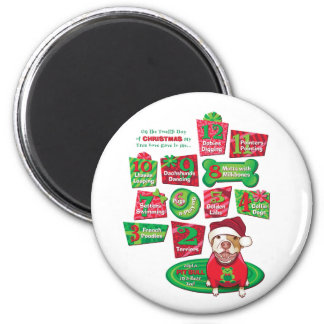 12 Dogs of Christmas Magnet