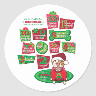 12 Dogs of Christmas Stickers