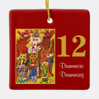 12 Drummers Drumming Cute Animals &Typography Ceramic Ornament
