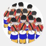 12 Drummers Drumming Round Stickers