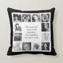 12 Family Photos with Together Quote Throw Pillow