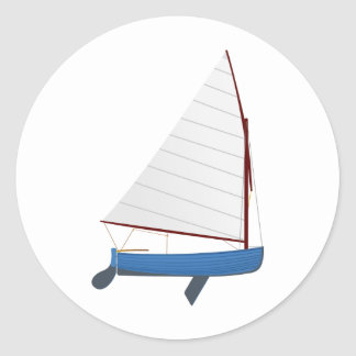 12 Foot Sailing Dinghy Classic Round Sticker