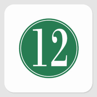 #12 Green Circle Square Sticker