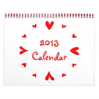 12 hearts 2013 Calendar