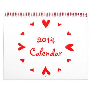 12 hearts 2014 Calendar