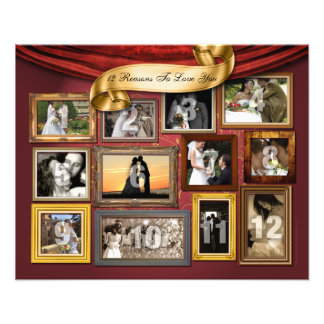 12 Hearts Wedding Poster Photo Enlargement