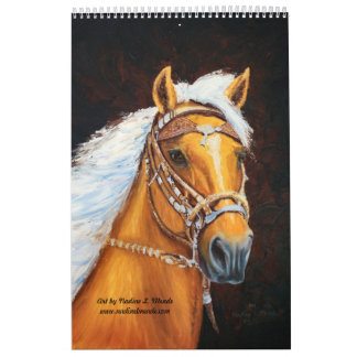 12 horse paintings spiral bound by Nadine L. Meade Calendar