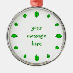 12 leaves round metal christmas ornament