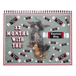 12 meses con el perro del tootise calendario de pared