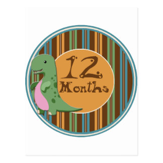 12 meses de jalón del dinosaurio postales