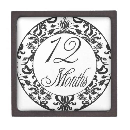 12 meses de jalón negro del damasco caja de regalo de calidad