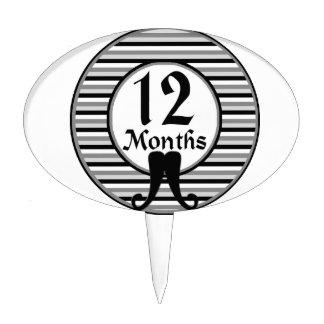 12 meses de jalón rayado del bigote decoración para tarta