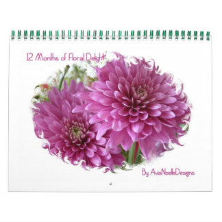 12 meses de Placer-Flores florales Calendarios