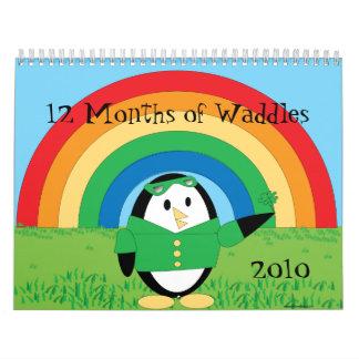 12 meses de Waddles que el pingüino hace Calendario