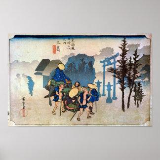 12. Mishima inn, Hiroshige Poster