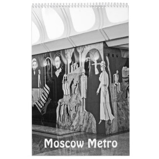 12 month Moscow Metro in black and white Calendar