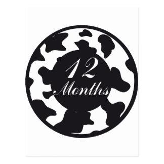 12 Months Animal Print Milestone Postcard