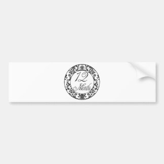 12 Months Black Damask Milestone Bumper Sticker
