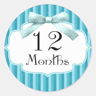12 Months Blue Polka Dot Ribbon Milestone Classic Round Sticker