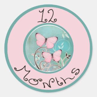 12 Months Butterfly Milestone Classic Round Sticker