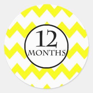 12 Months Chevron Milestone Classic Round Sticker
