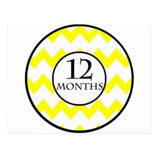 12 Months Chevron Milestone Postcard