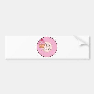 12 Months Cupcake Milestone Bumper Sticker
