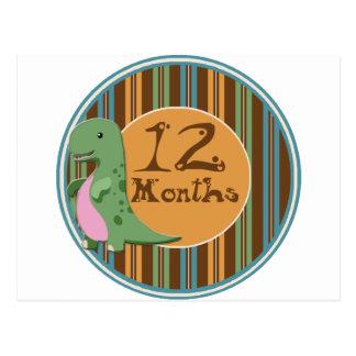 12 Months Dinosaur Milestone Postcard