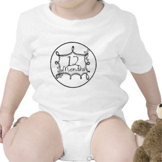 12 Months Doodle Milestone Baby Bodysuits