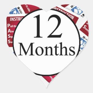 12 Months Firefighter Milestone Heart Sticker