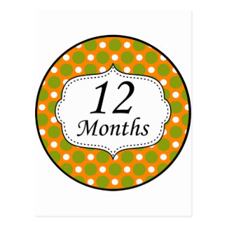 12 Months Polka Dot Milestone Postcard