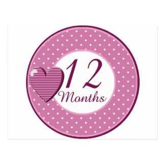 12 Months Rocker Girl Milestone Postcard