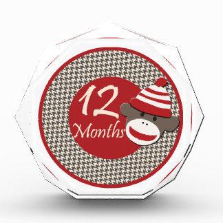 12 Months Sock Monkey Milestone Acrylic Award
