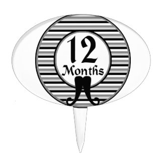 12 Months Striped Mustache Milestone Cake Picks