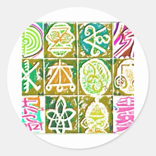 12 muestras curativas V14 de Reiki n Karuna Etiquetas Redondas