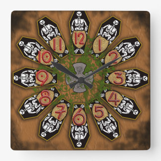 12 open coffins (color) square wall clock