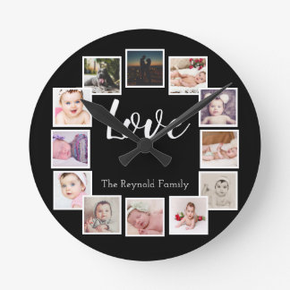 12 Photo Collage Personalized Design Your Own Round Clock