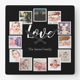 12 Photo Collage Personalized LOVE Family Square Wall Clock