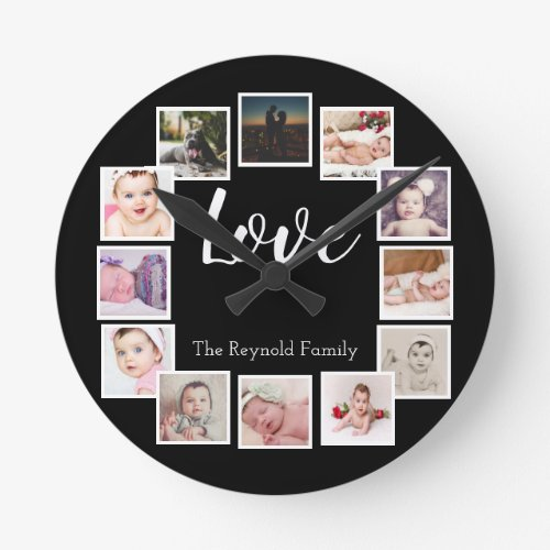 12 Photo Collage Personalized Round Clock