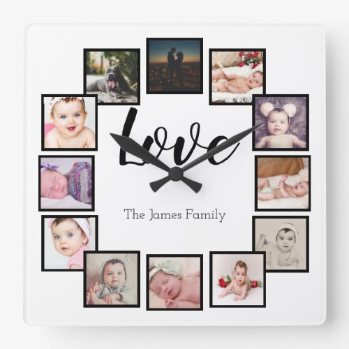 12 Photo Collage Personalized White Square Wall Clock